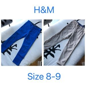 H&M Skinny boys pants size 8-9 in blue and khaki